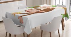 Muz ve Maymun Desenli Masa Örtüsü Çocuk İçin