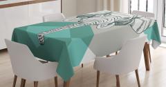 Mavi Fonlu Fil Desenli Masa Örtüsü Şık Tasarım
