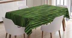 Yeşil Bambu Desenli Masa Örtüsü Şık Dekoratif
