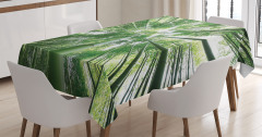Bambu Ağaçları Desenli Masa Örtüsü Şık Tasarım