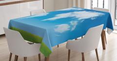 Bulut Dünya Haritası Desenli Masa Örtüsü Mavi