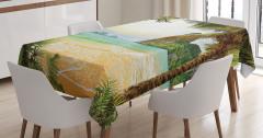 Doğal Cennet Manzaralı Masa Örtüsü Kumsalda Dalgalar
