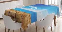 Deniz Kenarında Huzur Temalı Masa Örtüsü Mavi Beyaz