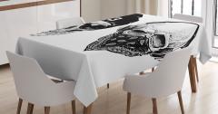 Tarz Kuru Kafa Desenli Masa Örtüsü Siyah Beyaz