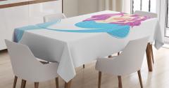 Çocuklar için Masa Örtüsü Deniz Kızı Desenli Pembe