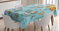 Çocuklar için Masa Örtüsü Sevimli Deniz Kızı Mavi