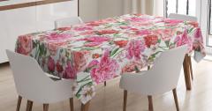 Rengarenk Çiçekli Masa Örtüsü Romantik Nostaljik