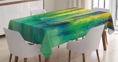 Suluboya Resmi Etkili Masa Örtüsü Rengarenk Trend
