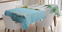 Şelale Manzaralı Masa Örtüsü Gölde Kuğular Mavi