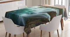 İzlanda Şelaleri Manzaralı Masa Örtüsü Yeşil Doğa