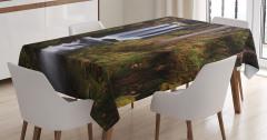 Doğada Gezinti Temalı Masa Örtüsü Köprü Şelale Yeşil
