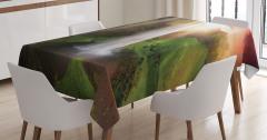 Gün Batımında Şelale Manzaralı Masa Örtüsü Yeşil
