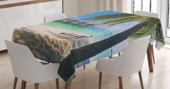 Deniz ve Palmiye Temalı Masa Örtüsü Egzotik
