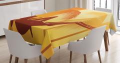 Plaj ve Palmiye Desenli Masa Örtüsü Turuncu