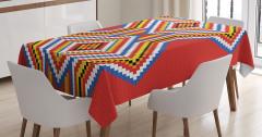 Rengarenk Mozaik Desenli Masa Örtüsü Kırmızı