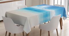 Mavi Masa Örtüsü Okyanus Kenarı Bulutlar Kumsal