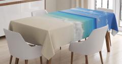Mavi Masa Örtüsü Kumsalda Dalgalar Okyanus Beyaz