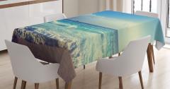 Okyanusta Gün Batımı Manzaralı Masa Örtüsü Turkuaz