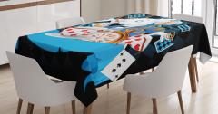 Tavşan Desenli Masa Örtüsü Mavi Çocuklar İçin