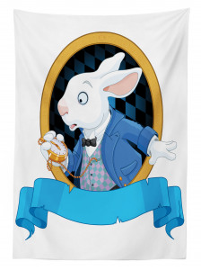 Tavşan Desenli Masa Örtüsü Çocuklar İçin Mavi