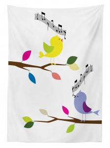 Şarkı Söyleyen Kuş Temalı Masa Örtüsü Trend