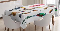 Rengarenk Kuşlar Temalı Masa Örtüsü Çeyizlik