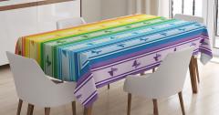 Şerit ve Kelebek Desenli Masa Örtüsü Rengarenk