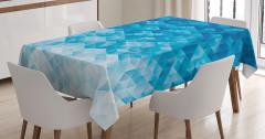 Mavi Geometrik Desenli Masa Örtüsü Şık Model
