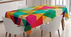 Rengarenk Üçgen Desenli Masa Örtüsü Geometrik