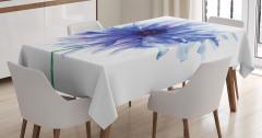 Şık Çeyizlik Çiçek Desenli Masa Örtüsü Mavi