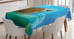 Deniz Kaplumbağası Desenli Masa Örtüsü Mavi