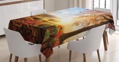 Sisli Sonbahar Manzaralı Masa Örtüsü Güneşli