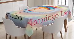 Rengarenk Flamingo Desenli Masa Örtüsü Modern Sanat