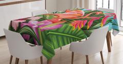 Tropikal Masa Örtüsü Flamingolar Rengarenk Çiçekler