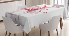 Aşık Flamingolar Temalı Masa Örtüsü Romantik Kırmızı