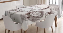 Vahşi Hayvan Temalı Masa Örtüsü Siyah Beyaz