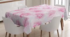 Pembe Masa Örtüsü Gül Desenli Çeyizlik Çiçekli Beyaz