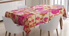 Çiçekli Masa Örtüsü Pembe Gül Desenleri Nostaljik