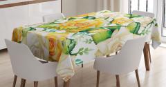Nostaljik Masa Örtüsü Gül Desenleri Sarı Beyaz Yeşil