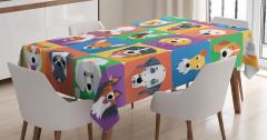 Sevimli Köpekler Kolajlı Masa Örtüsü Rengarenk Mor