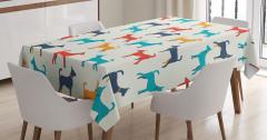 Rengarenk Köpek Desenli Masa Örtüsü Kırmızı Lacivert