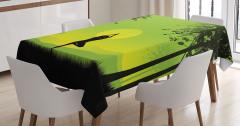 Gün Doğumunda Yoga Temalı Masa Örtüsü Yeşil Sarı