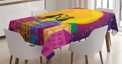 Çocuklar için Masa Örtüsü Romantik Kedi Mor Turuncu