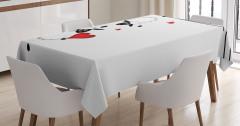 Çocuklar için Masa Örtüsü Aşık Koyunlar Kalp Kırmızı