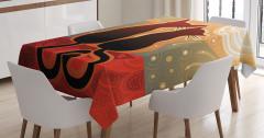 Turuncu Masa Örtüsü Gün Batımı Aşık Kedi Desenli
