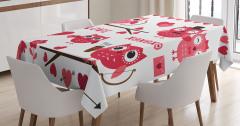 Çocuklar için Masa Örtüsü Kımızı Siyah Baykuş Deseni