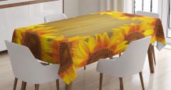 Ahşap Fonlu Ayçiçeği Desenli Masa Örtüsü Sarı