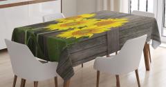 Ahşap Çit ve Ayçiçeği Desenli Masa Örtüsü Sarı