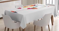 Üzüm ve Kadeh Desenli Masa Örtüsü Rengarenk