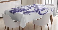Mavi Zambak Desenli Masa Örtüsü Dekoratif